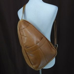 Lavive Sling Backpack Brown Leather Medium Zip